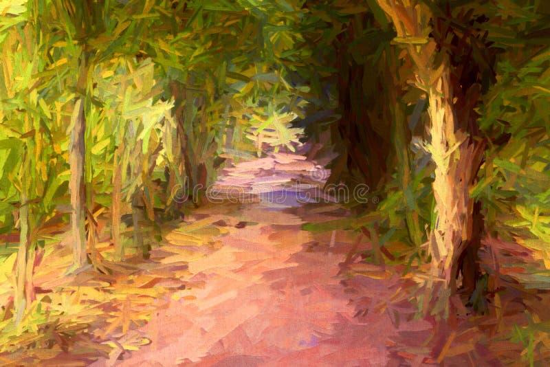 Abstrakcjonistyczny obraz długa ciemna drzewna aleja ilustracja wektor
