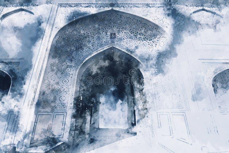 Abstrakcjonistyczny obraz gage stary pałac w zimnym brzmieniu royalty ilustracja