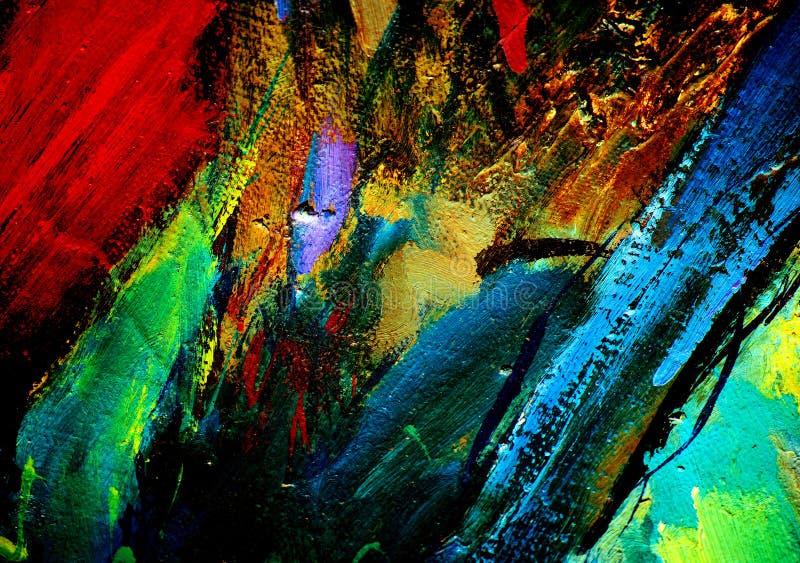 Abstrakcjonistyczny obraz olejem na kanwie, ilustracja, tło fotografia stock