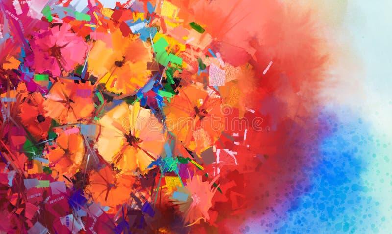Abstrakcjonistyczny obraz olejny bukiet gerbera kwiaty