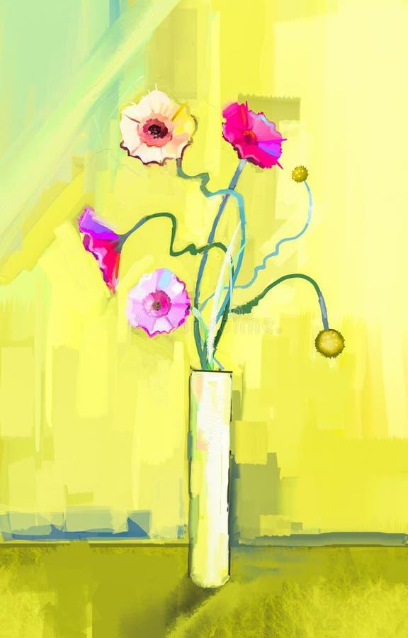 Abstrakcjonistyczny obraz olejny wiosna kwiat Wciąż życie koloru żółtego, menchii i czerwieni gerbera, royalty ilustracja