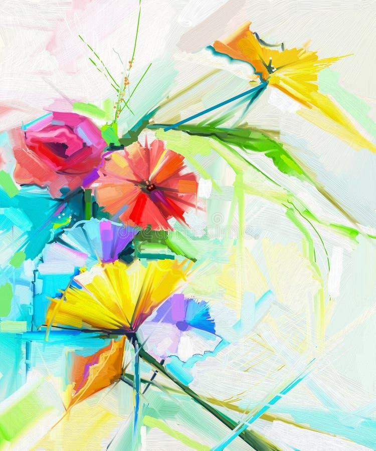 Abstrakcjonistyczny obraz olejny wiosna kwiat Wciąż życie koloru żółtego, menchii i czerwieni maczek, ilustracji