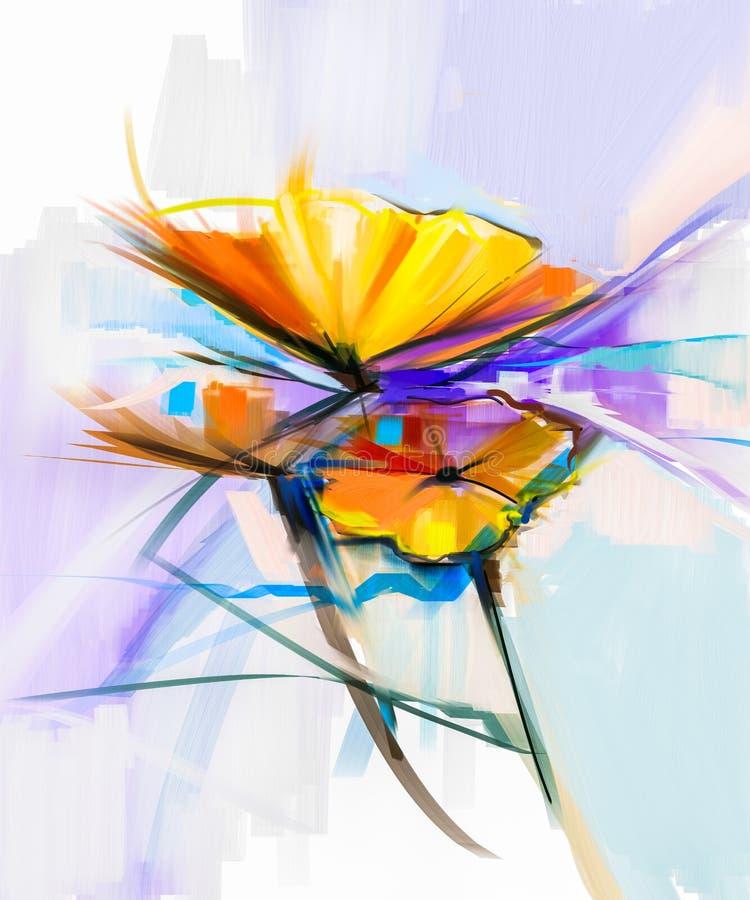 Abstrakcjonistyczny obraz olejny wiosna kwiaty Wciąż życie żółty i czerwony gerbera kwiat ilustracji
