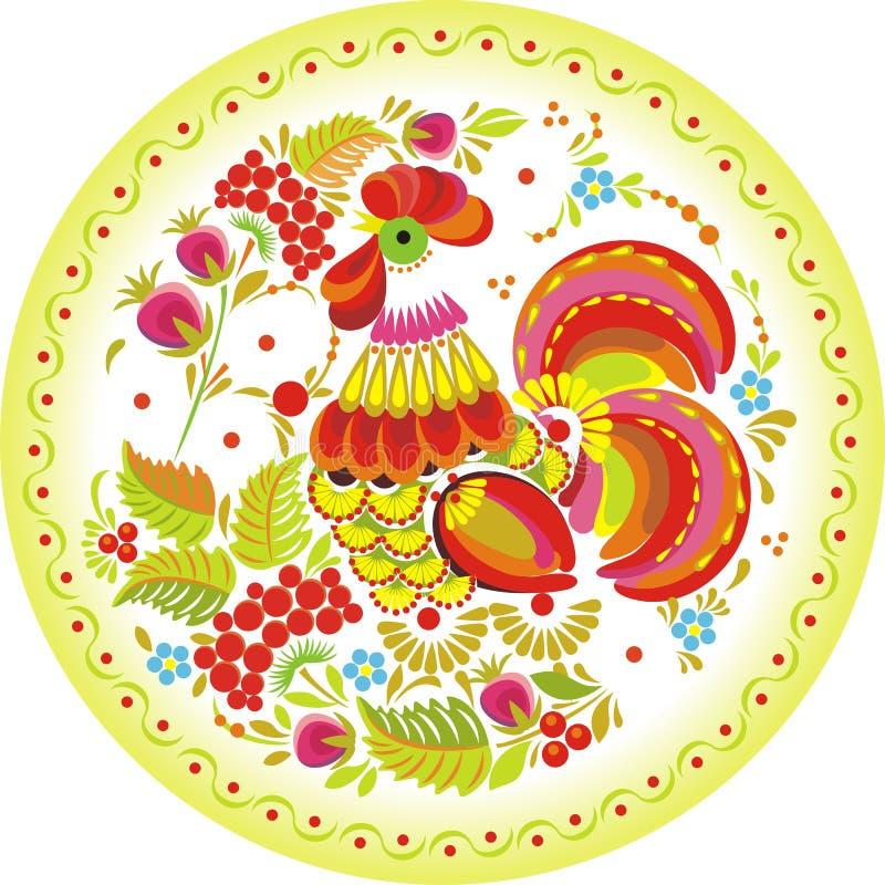 Abstrakcjonistyczny obraz - piękny ptak dzióbać jagody ilustracji