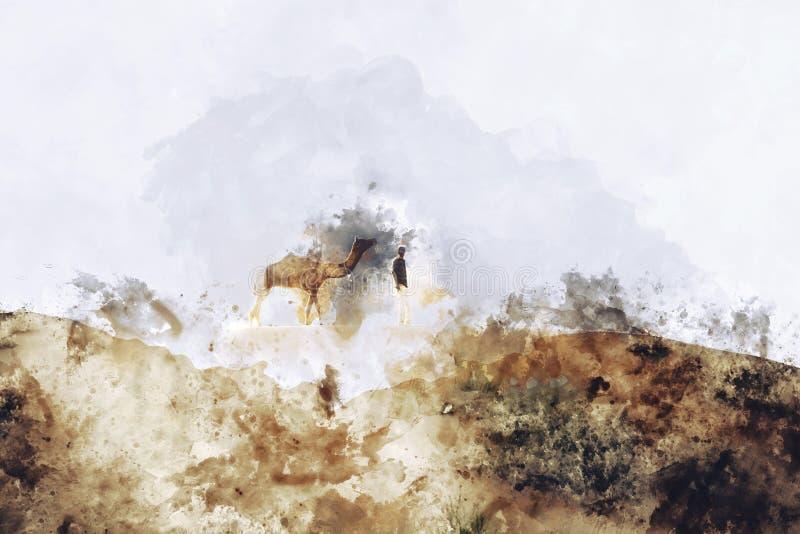 Abstrakcjonistyczny obraz wielbłąd w rocznika brzmieniu royalty ilustracja