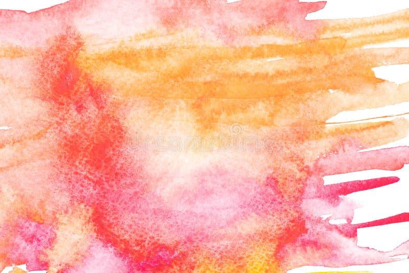 Abstrakcjonistyczny obraz z jaskrawą czerwienią, menchiami i pomarańczowymi farb uderzeniami, royalty ilustracja