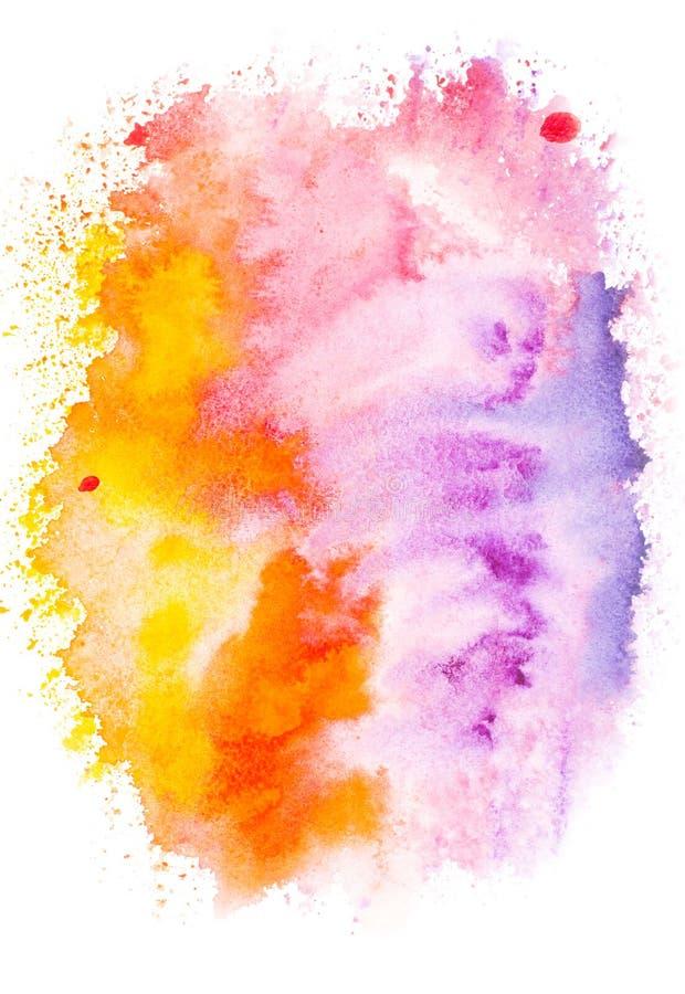 Abstrakcjonistyczny obraz z kolorową jaskrawą akwareli farbą zaplamia royalty ilustracja