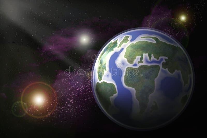 Abstrakcjonistyczny obrazkowy wizerunek planety ziemia w otwartej przestrzeni pośrodku royalty ilustracja