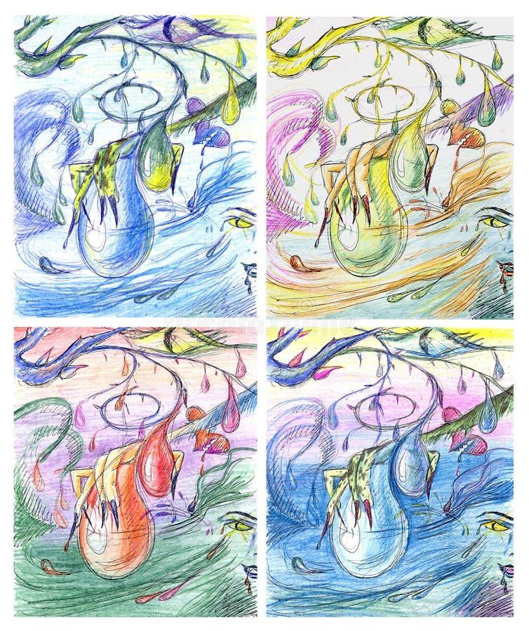 Abstrakcjonistyczny obrazu nakreślenie w różnych kolorach royalty ilustracja