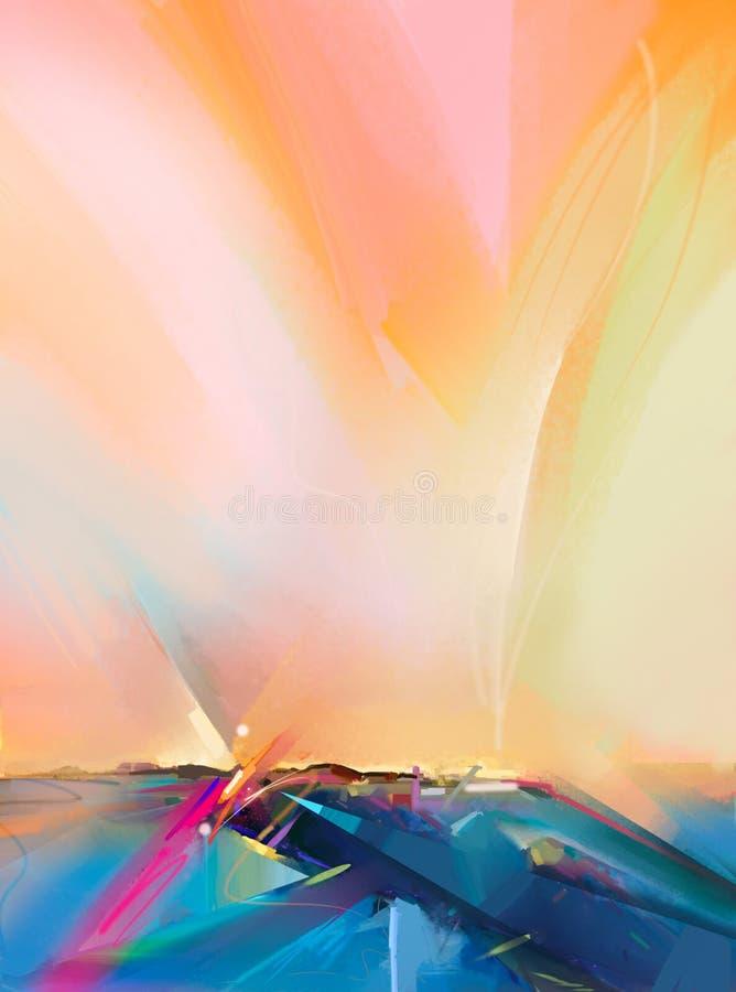 Abstrakcjonistyczny obrazu olejnego krajobrazu tło Kolorowy koloru żółtego i pomarańcze niebo royalty ilustracja