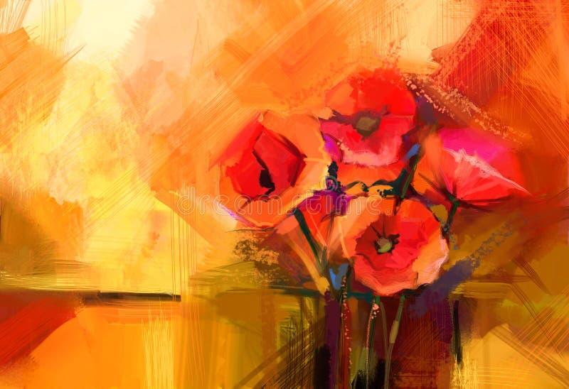 Abstrakcjonistyczny obrazu olejnego Wciąż życie czerwony makowy kwiat royalty ilustracja