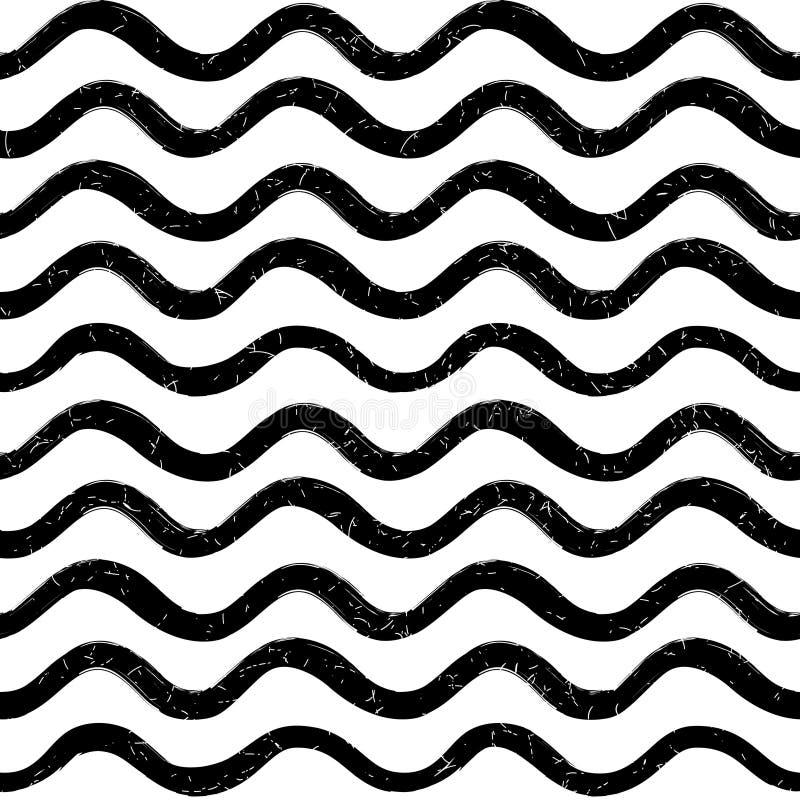 Abstrakcjonistyczny ocean fala bezszwowy wzór Falisty kreskowy lampasa tło royalty ilustracja