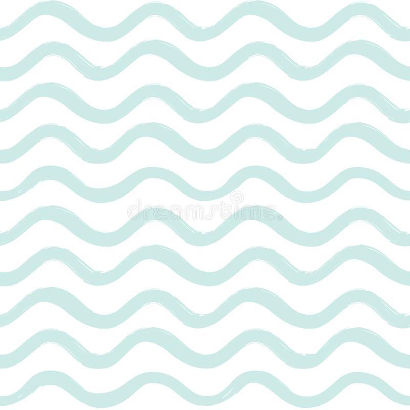 Abstrakcjonistyczny ocean fala bezszwowy wzór Falisty kreskowy lampasa tło ilustracji