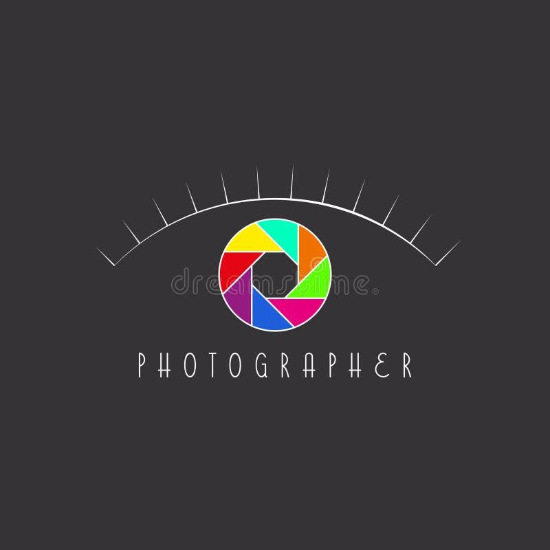 Abstrakcjonistyczny oko fotograf, kolorowa apertura kamera, miejsce logo ilustracja wektor