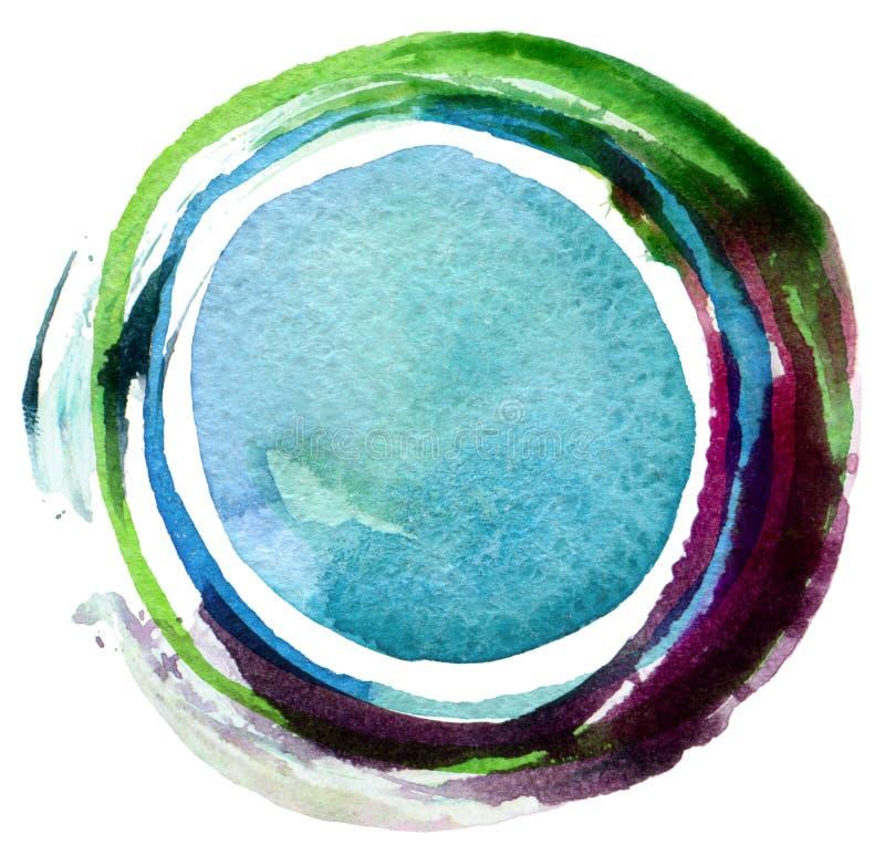 Abstrakcjonistyczny okrąg akrylowy i akwareli tło ilustracji