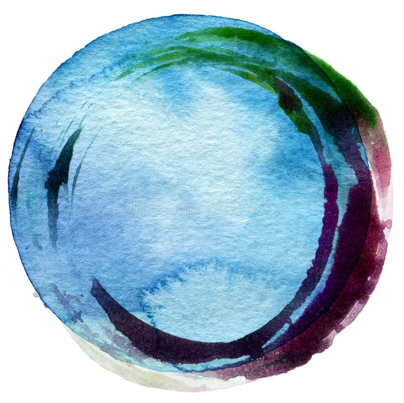 Abstrakcjonistyczny okrąg akrylowy i akwareli tło royalty ilustracja