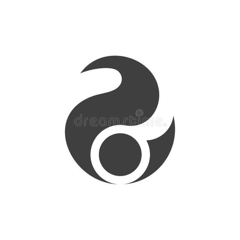Abstrakcjonistyczny okrąg krzyw kropki geometrycznego projekta logo ilustracji