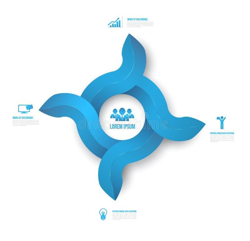 Abstrakcjonistyczny okrąg strzała 3D Infographic cyfrowy ilustracyjny czysty styl royalty ilustracja