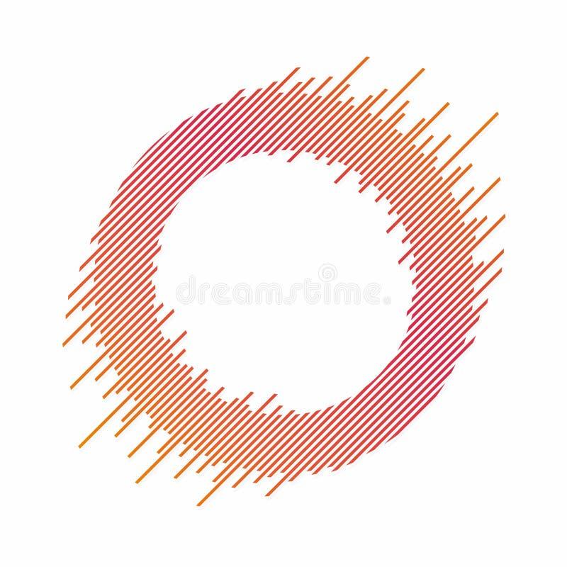 Abstrakcjonistyczny okrąg z dynamicznymi liniami Abstrakcjonistyczny tło z okręgiem w kolorowej mieszance Dynamiczny sztandar, ra ilustracji
