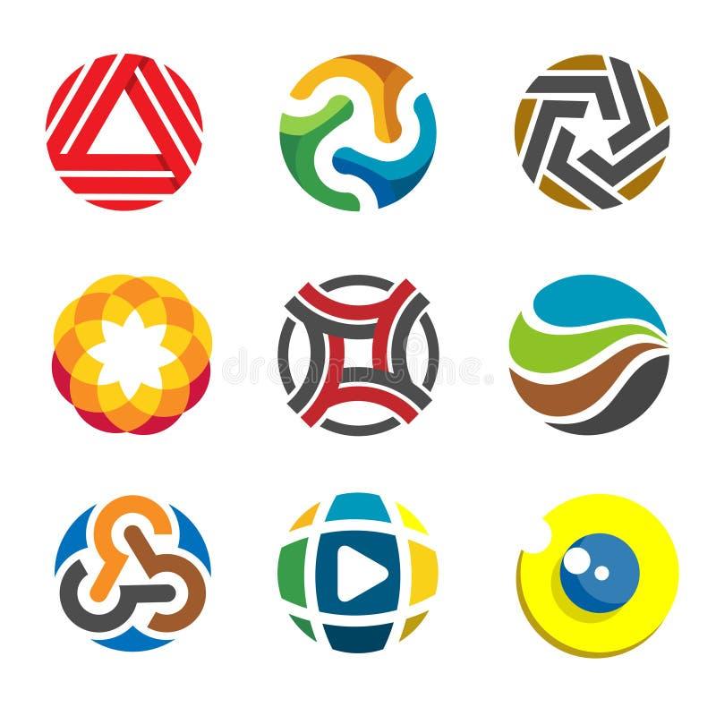 Abstrakcjonistyczny okręgu logo dla biznesowej firmy ilustracji