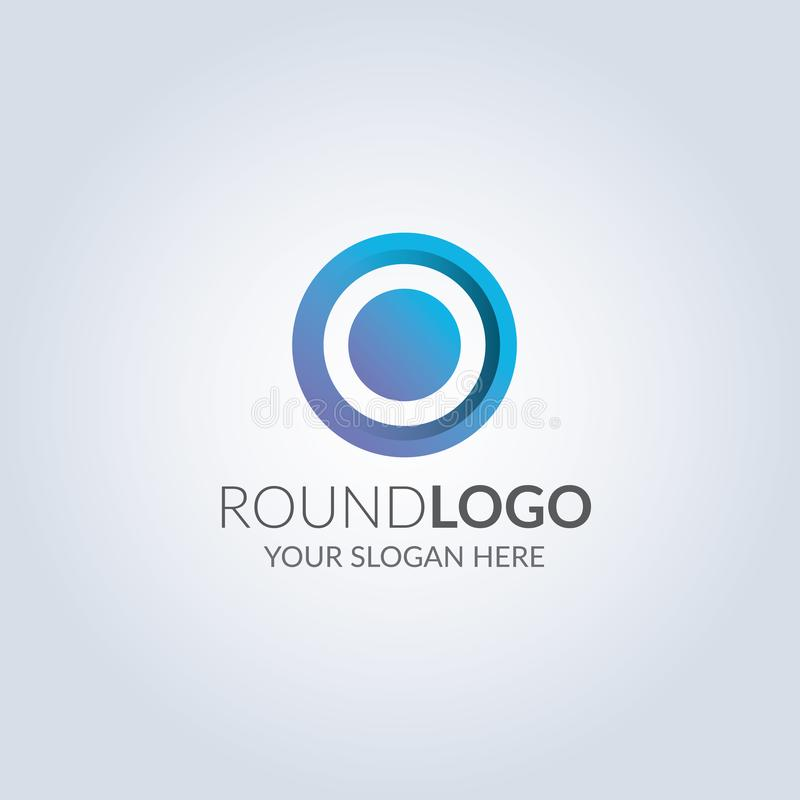 Abstrakcjonistyczny okręgu znaka logo w błękitnego koloru gradientowym kolorze projekta pożarniczy notatnika szablonu pisać twój royalty ilustracja