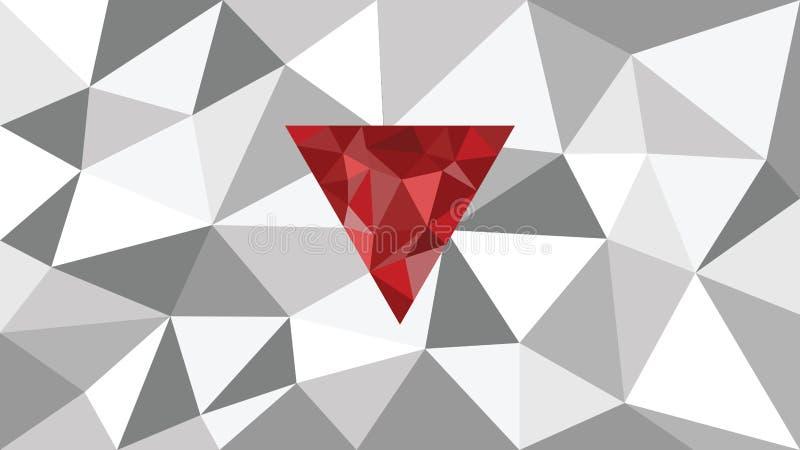 Abstrakcjonistyczny olśniewający wektorowy geometryczny sieci tło, czerwony kształt w przodzie, cienie szary trójbok, koloru diam fotografia royalty free