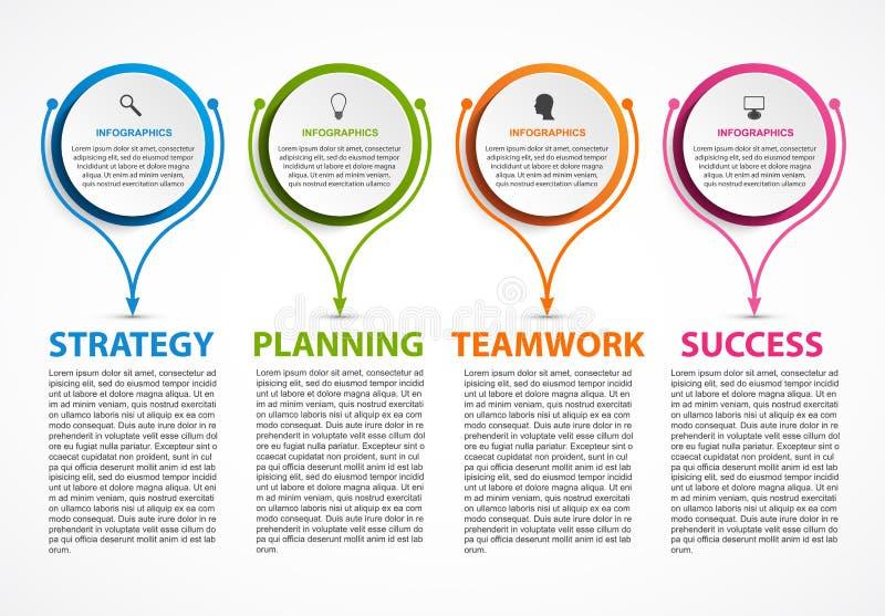 Abstrakcjonistyczny opci infographics szablon Infographics dla biznesowych prezentacj lub ewidencyjnego sztandaru ilustracji