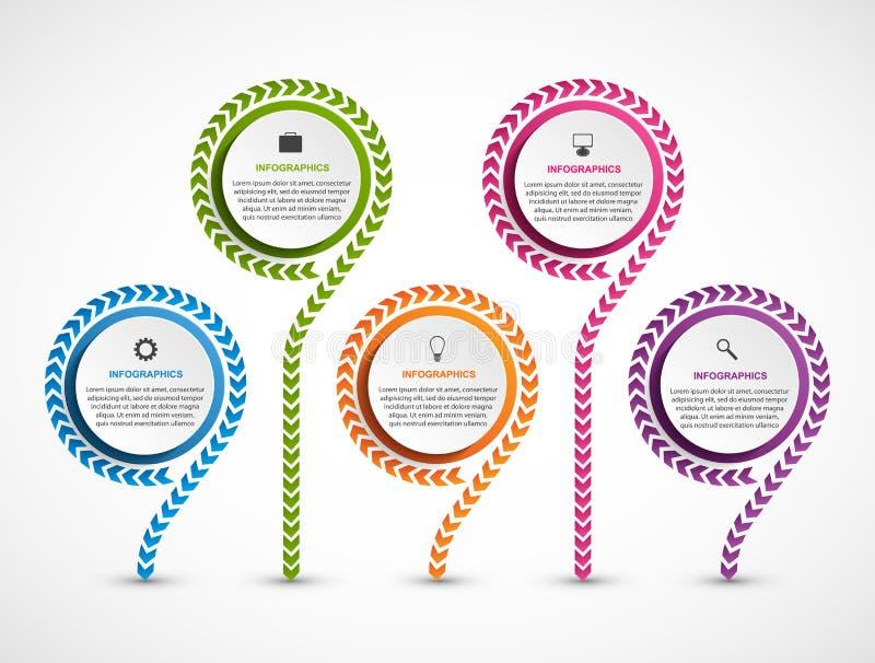 Abstrakcjonistyczny opci infographics szablon Infographics dla biznesowych prezentacj lub ewidencyjnego sztandaru royalty ilustracja