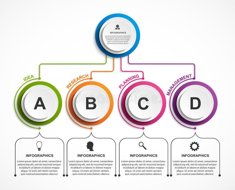 Abstrakcjonistyczny opci infographics szablon Infographics dla biznesowych prezentacj lub ewidencyjnego sztandaru ilustracja wektor