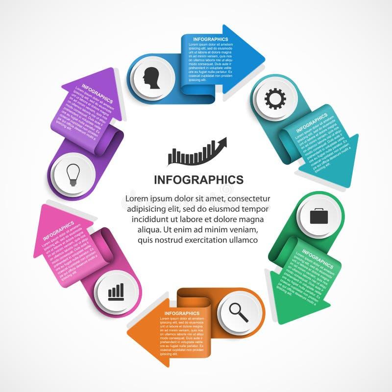 Abstrakcjonistyczny opci infographics szablon z strzała w okręgu Infographics dla biznesowych prezentacj lub ewidencyjnego sztand ilustracja wektor