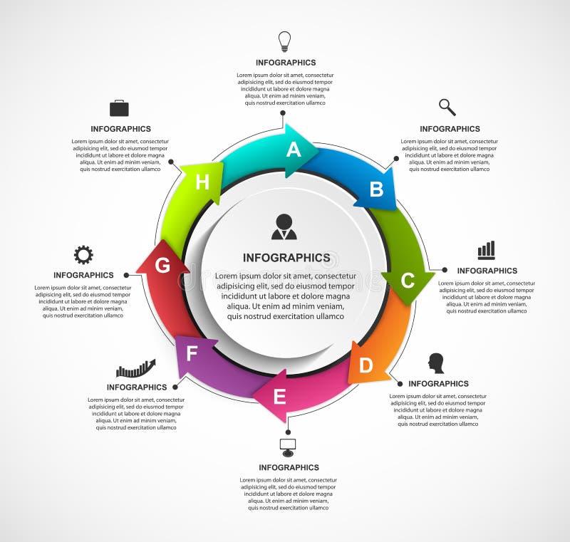 Abstrakcjonistyczny opci infographics szablon z strzała w okręgu Infographics dla biznesowych prezentacj lub ewidencyjnego sztand ilustracji