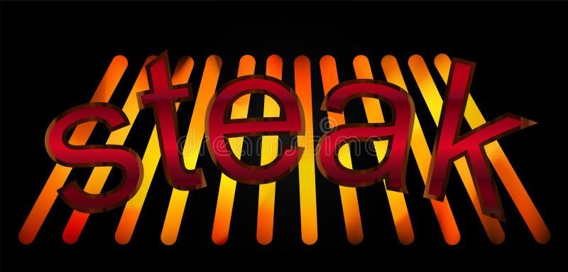 Abstrakcjonistyczny opieczenie stek i zmroku tło projektujemy biznesowego loga ilustracja wektor
