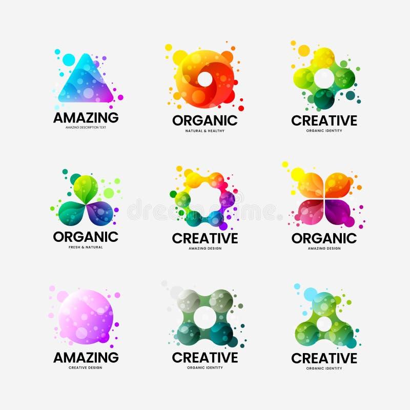 Abstrakcjonistyczny organicznie wektorowy logo znak Multicolor logotypu emblemata ilustracji set Mody odznaki projekta kolorowy p ilustracji