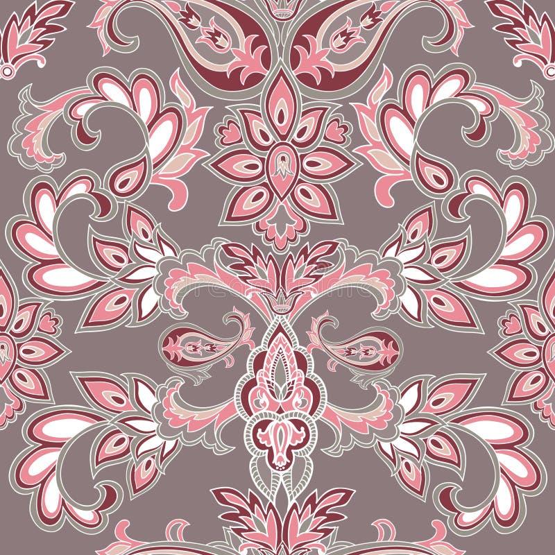 Abstrakcjonistyczny orientalny kwiecisty bezszwowy wzór Kwiatu geometryczny orna ilustracji
