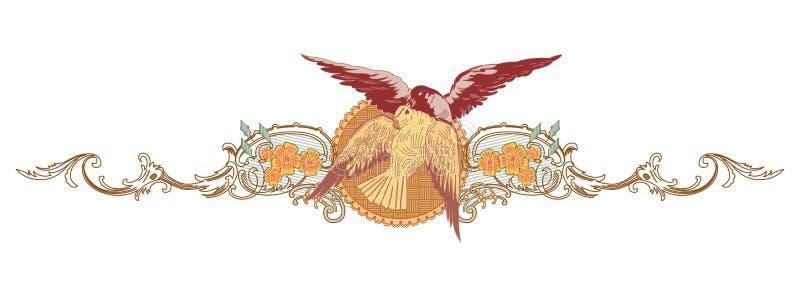 Abstrakcjonistyczny orientalny ptasi dekoracyjny kolorowy świat Ornamentuje grafikę royalty ilustracja
