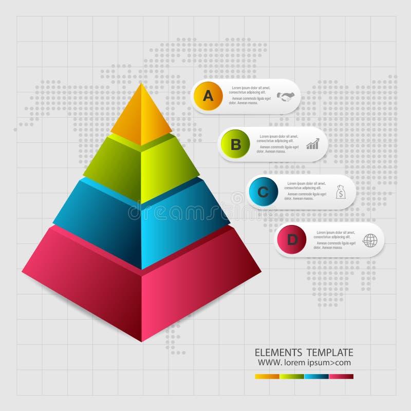 Abstrakcjonistyczny ostrosłupa typ infographic elementy ilustracji