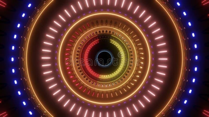 Abstrakcjonistyczny płodozmienny tunel z wielo- kolorów światłami royalty ilustracja