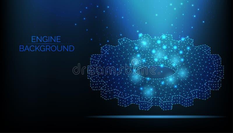 Abstrakcjonistyczny parowozowy wektorowy wireframe Przekładnia na zmroku - błękitny tło Praca zespołowa symbol Parowozowa praca,  ilustracja wektor