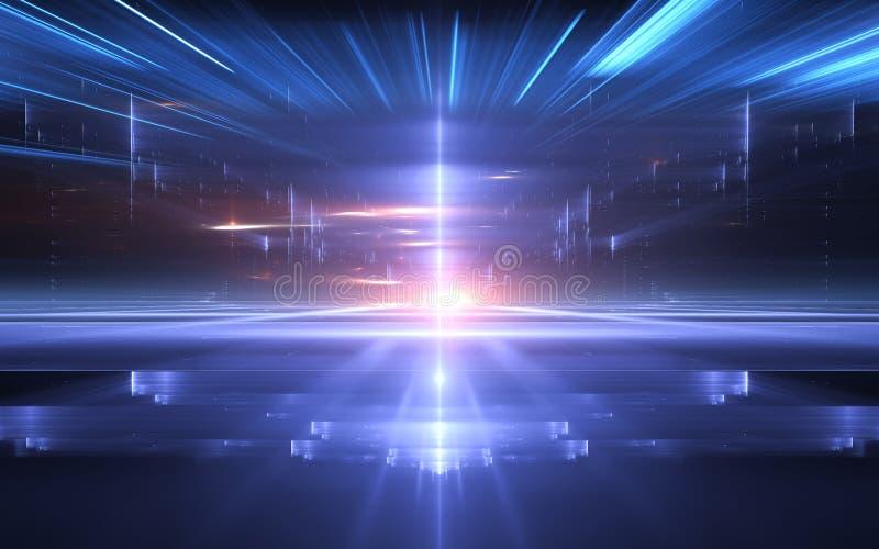 Abstrakcjonistyczny perspektywiczny futurystyczny technologii tło Czas łoktusza, cyberprzestrzeń ilustracja wektor