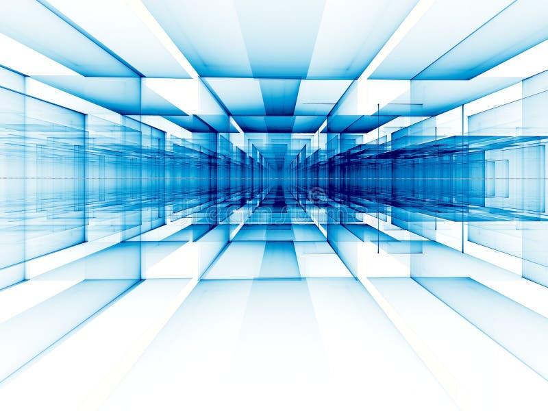 Abstrakcjonistyczny perspektywiczny technologii tło - cyfrowo wytwarzający wizerunek ilustracja wektor
