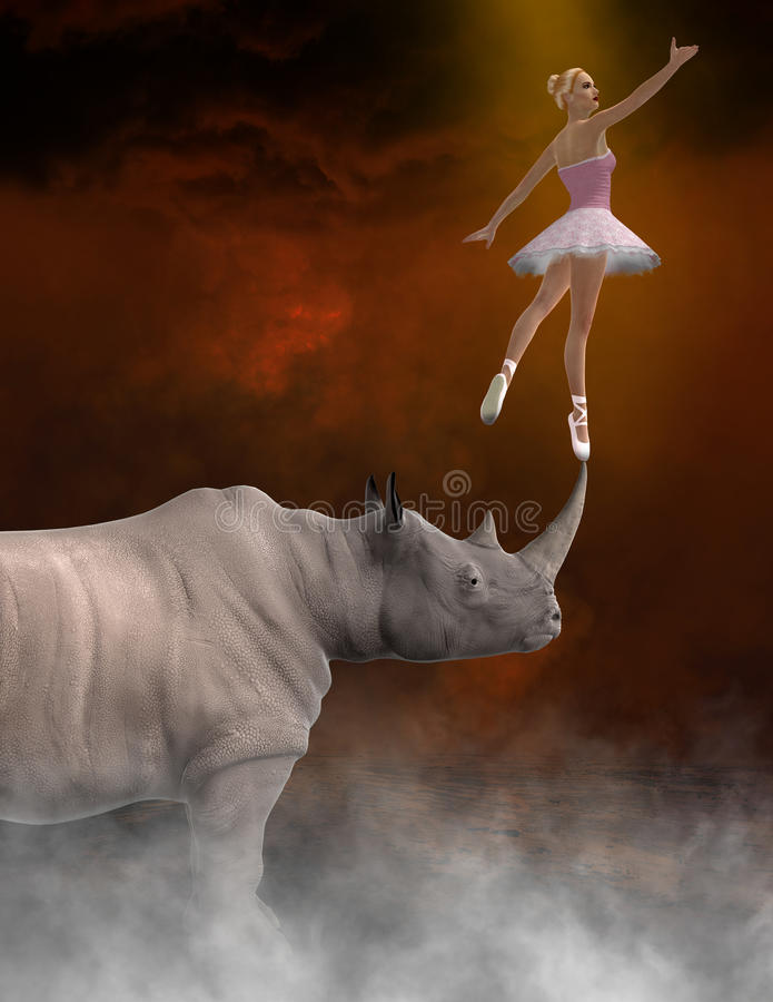 Abstrakcjonistyczny piękno, bestia, balerina, taniec, nosorożec royalty ilustracja