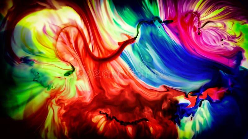 Abstrakcjonistyczny piękno sztuka atramentu farba wybucha kolorowego fantazi rozszerzanie się ilustracji