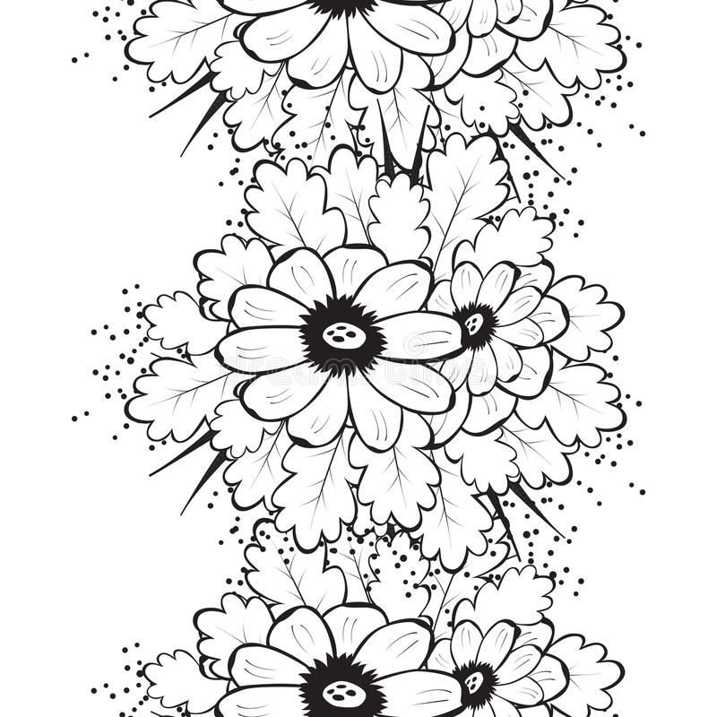Abstrakcjonistyczny Piękny Bezszwowy wzór z kwiatem ilustracja wektor