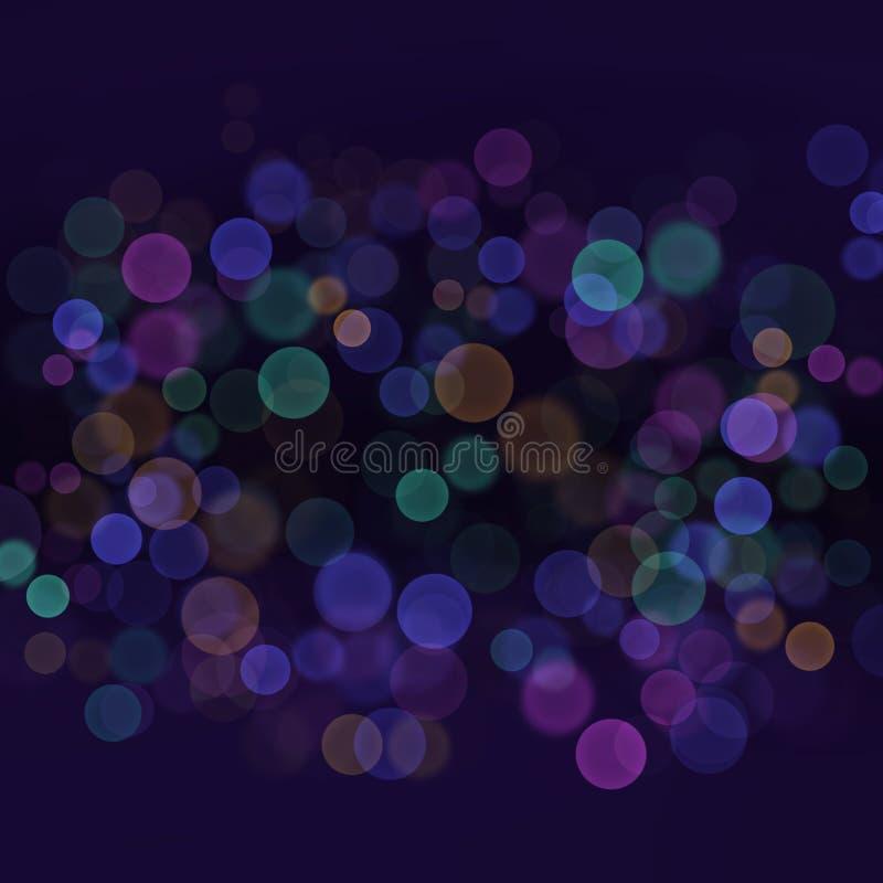 Abstrakcjonistyczny plamy światła bokeh z wielo- koloru zmrokiem - błękitny tło royalty ilustracja