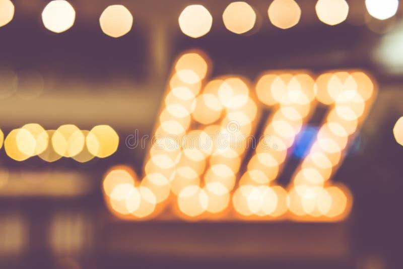 Abstrakcjonistyczny plamy bokeh w jazzowym słowie, muzyczny tło, rocznika filtr obrazy royalty free