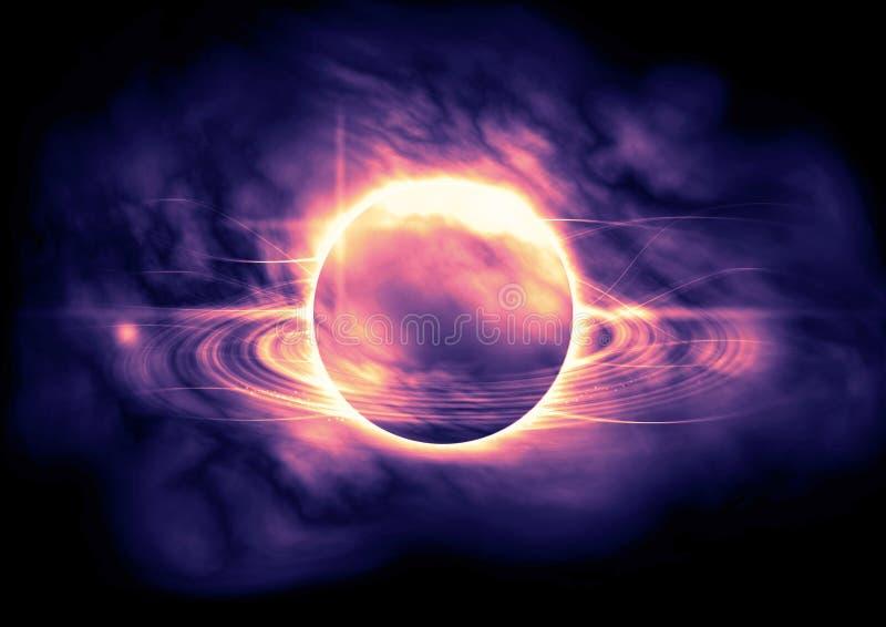Abstrakcjonistyczny planetarny pierścionek przez mgławicy chmury Świecący lekcy punkty w przestrzeni royalty ilustracja