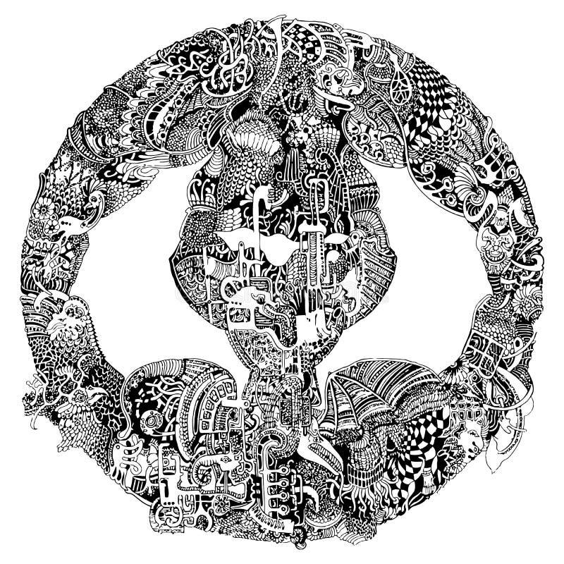 Abstrakcjonistyczny plemienny etniczny mandala royalty ilustracja