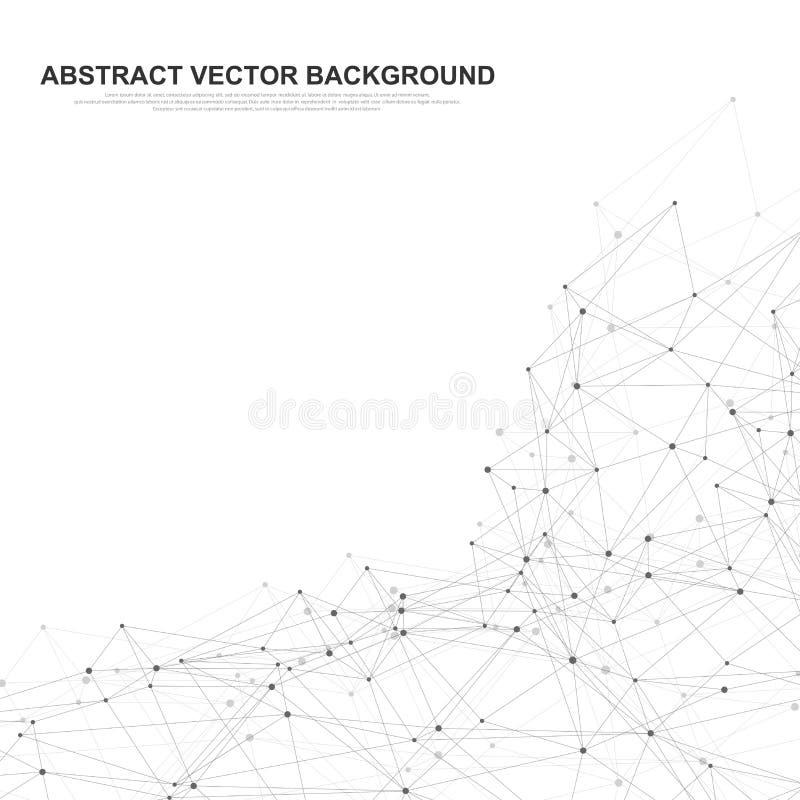 Abstrakcjonistyczny plexus tło z związanymi liniami i kropkami Falowy przepływ Plexus geometrycznego skutka Duzi dane z mieszanka ilustracja wektor