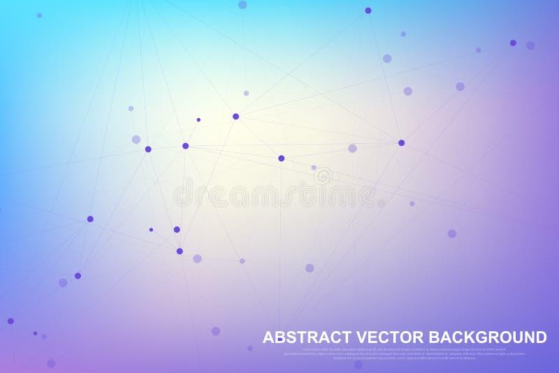 Abstrakcjonistyczny plexus tło z związanymi liniami i kropkami Falowy przepływ Plexus geometrycznego skutka Duzi dane z mieszanka ilustracji