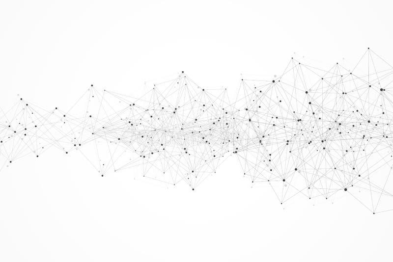 Abstrakcjonistyczny plexus tło z związanymi liniami i kropkami Plexus geometrycznego skutka Duzi dane z mieszankami Wykłada plexu ilustracji